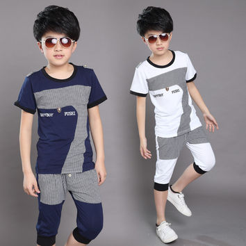 New Summer 2016 Boys Clothing Set Short-sleeved Shirt+Harem Shorts Clothes Sets Cotton Sport Suit For Boy Teenage Boy Clothing