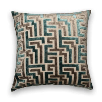 Velvet Decorative Pillow Cover--Geometric Throw Pillow--Teal and Taupe