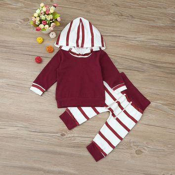 2 Pc Baby Boys Striped Long Sleeve Hoodie and Pants