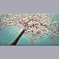 Art Oil Hand-painted picture 100% home-made Cherry Blossom tree canvas