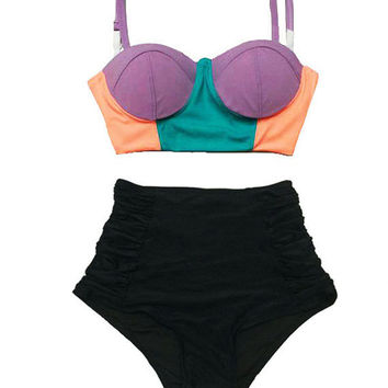 Color Block Lavender Mint Old Rose Midkini Top and Black Ruched High Waisted waist Vintage Retro Shorts Bottom Swimsuit Bikini Swimsuits S M