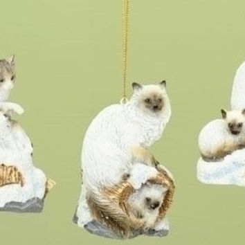6 Christmas Ornaments - Siamese Cats On Log