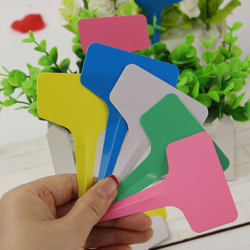 Plastic Plant Label Flower Tags Markers Nursery Garden Labels Stick 60x100mm Gardening Signs Card 5pcs