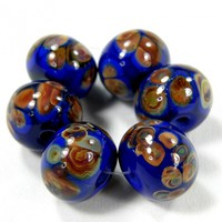 Opaque Medium Cobalt Blue Handmade Lampwork Glass Beads With Raku Frit fb242 Shiny (Choices of Etched, .999 Fine Silver, Shapes, Sizes, Large Hole Beads Extra)