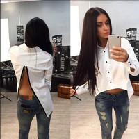 Turn-down Collar Long Sleeves Backless Split Pure Color Blouse