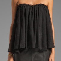 BLAQUE LABEL Strapless Ruffle Top in Black