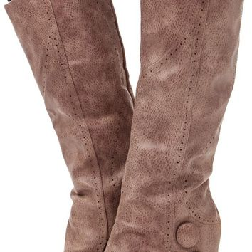 Taupe Overlay Button Heel Boot
