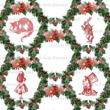 holly_wreath_alice_in_wonderland_red fabric - 13moons_design - Spoonflower