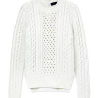Nonoo Cable Knit Sweater - White Sweater - ShopBAZAAR