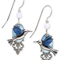 Silver Forest Earrings, Silver-Tone Blue Hummingbird Filigree Drop Earrings - Fashion Jewelry - Jewelry & Watches - Macy's