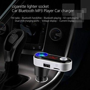 ONETOW DRUnKQUEEn Bluetooth FM Transmitter, Car Wireless Cigarette Lighter Extension, in-car Bluetooth Receiver, FM Radio Stereo Adapter, Car charger Handsfree Calling USB Charging, Voltage Current Display