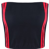 ZAFUL women Striped Tube Top Sleeveless Color Patchwork Women Crop Top Sexy Strapless Bandeau Tops Cropped Feminino Red Top