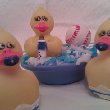 Baby Boy Shower Favor Set of 3 Keepsake Toy Ducks in Soap Pond