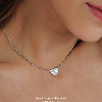 Heart Diamond Necklace 14K Gold