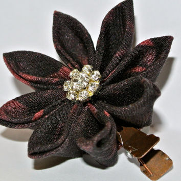Black and red kimono fabric kanzashi hair flower clip with rhinestone snowflake center