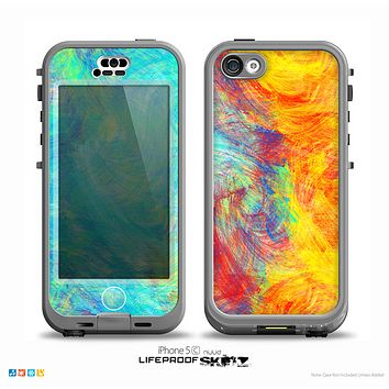 The Vibrant Colored Messy Painted Canvas Skin for the iPhone 5c nüüd LifeProof Case