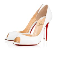 Demi You 100 White Patent Leather - Women Shoes - Christian Louboutin