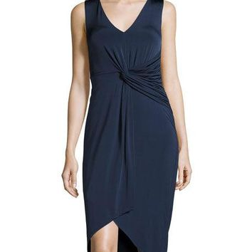Catherine Malandrino Sleeveless Draped-Front Dress, Navy