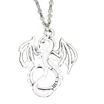 Silver Plated Dragon Pendant Necklace For Women