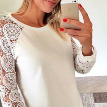 Lace Patchwork Sleeve Sweater Shirt