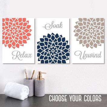 Coral Navy BATHROOM Decor Wall Art, Bath CANVAS or Prints, Flower Bathroom Wall Decor, Relax Soak Unwind, Bathroom Quote Pictures, Set of 3