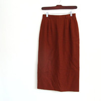 1980s vintage rust brown pencil skirt - high waisted - knee length - XS / S