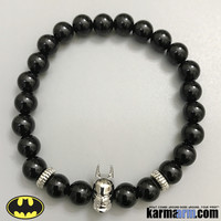BATMAN Bracelets: Black Onyx | Antiqued Silver Ribbed Rondelle | Superhero ComicCon CosPlay Bracelet