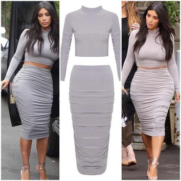 CUTE GREY TWO PIECE HOT DRESS