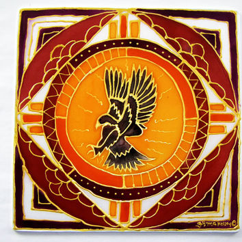 "Animal Guide Mandala ""The Hawk"" shamanic art, spiritual art ,meditation art, hawk art, silk art,mandala art MADE TO ORDER"