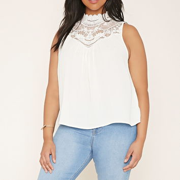 Plus Size Crochet-Paneled Top | Forever 21 PLUS - 2000186652
