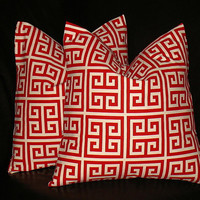"""Pillows 18x18 inches Red, Natural GREEK KEY Pillow Covers set of TWO 18"""" accent pillows Maze"""