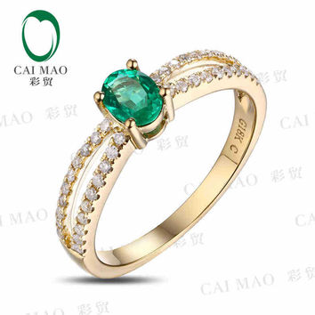 caimao 0.38 ct natural emerald 18kt/750 yellow gold 0.2 ct full cut diamond engagement ring  gemstone colombian