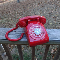 1970s Vintage RED Rotary Dial Telephone by ITT, Curly Headset Cord & Wall Cord, Like New Condition, Vintage Phone, Vintage Technology