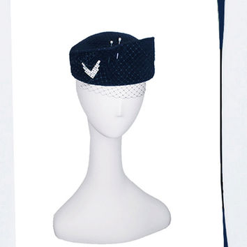 Navy Blue Pillbox Hat, Military Style, Rhinestone Chevron