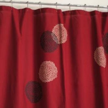 Deep Red Curtain with Mum Print by appetitehome on Etsy