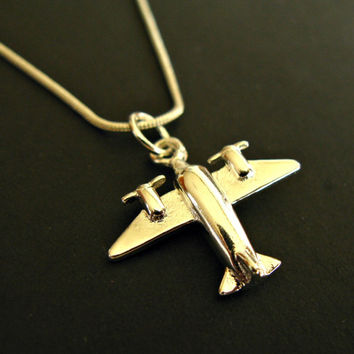 Sterling Silver airplane necklace plane necklace aeroplane necklace plane jewelry airplane jewelry