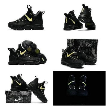 Really Cheap LeBron 14 XIV Black Gold 2017 Lebron James Shoes Glow In The Dark Brand sneaker