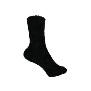 Microfiber Fuzzy Crew Socks in Black