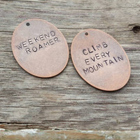 Hand Stamped Necklace | Weekend Roamer | Climb Every Mountain | Wanderlust Jewelry | Boho Necklace| Adventure Necklace | Hiking Jewelry