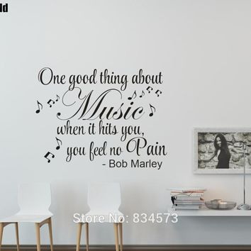 Bob Marley Quote Music Makes You Feel No Pain Party Wall Art Stickers Wall Decals Home Decoration Removable Decor Wall Stickers