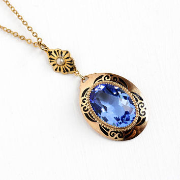 Antique Art Deco Blue Glass Stone Black Enamel Faux Seed Pearl Necklace - Vintage 1920s Simulated Sapphire Lavalier Pendant Costume Jewelry