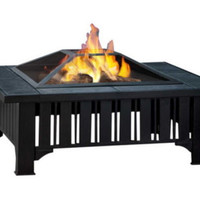 Classic Fire Pit Gray Tile Top With Spark Screen Powder-Coated Black Finish New