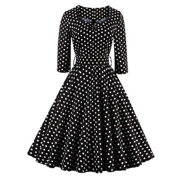 Robe Femme Winter Autumn Womens Dress 2016 Black Dress White Polka Dots Vintage 40s 50s 60s Style Rockabilly Swing Party Dresses