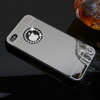 Luxury  Rhinestone Hard  Mirror Case For iPhone 4 4S Sparkling Bling Diamond Crystal  Golden Mirror Cases