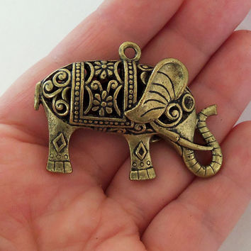 1 Large Filigree elephant charm, Big bronze decorative elephants, zen charms, hipster charms, hindu pendants, india pendant, indian jewelry