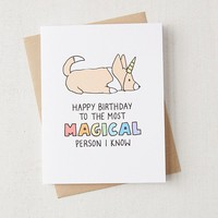 Tiffbits Unicorn Corgi Birthday Card | Urban Outfitters