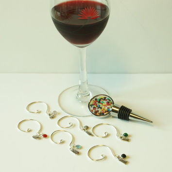 Wine Bottle Stopper, Wine Glass Charms, Unique Gift, Jelly Bean Photograph, Fun, Ladies Night, Summer Get-togethers, Coasters, Note Cards