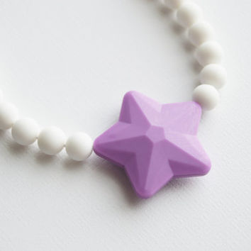 Chew Necklace /Oral Sensory Toy/Kids Fidget Jewelry Sensory Necklace/Purple Star/Free Shipping on U.S. orders