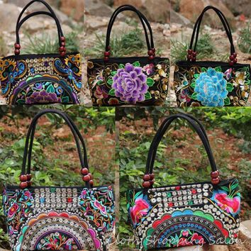 Chinese Ethnic Style Embroidery Bags Handmade Cloth Double Faced Embroidered Canvas Beads Shoulder Bag Women's Small Handbag