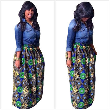 Diamond Printed Maxi Skirt